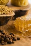 Honeycomb, pollen and propolis. On wooden background Stock Photos