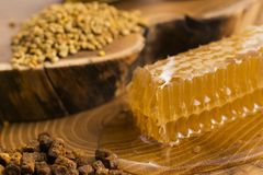 Honeycomb, pollen and propolis. On wooden background Stock Images