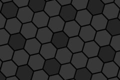 Honeycomb random Grid background or Hexagonal cell texture. in color black or dark with gradient color. Honey bee hive. rotate view stock illustration
