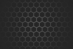 Honeycomb random Grid background or Hexagonal cell texture. in color black or dark with gradient color. Honey bee hive. With vignette dark border shadow royalty free illustration