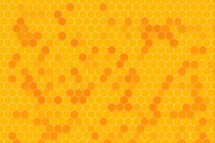 Honeycomb random Grid background or Hexagonal cell texture. In yellow honey bee tone style stock illustration
