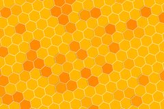 Honeycomb random Grid background or Hexagonal cell texture. In yellow honey bee tone style.  With rotate 3d view royalty free illustration