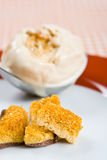 Honeycomb with a scoop of toffee ice cream Stock Images