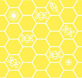 Honeycomb seamless background with flower leaf bee Stock Photo