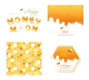 Honeycomb seamless pattern background, melted flowing honey, honeymoon letters and other design samples. Isolated on Stock Photo