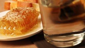 Honeycomb and tea mug stock video footage