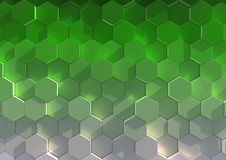 Honeycomb tile gradient. Illustration of six-sided tiles, with a color gradient from white to dark green Royalty Free Stock Photos