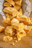 Honeycomb Toffee. Honeycomb or cinder toffee hokey pokey sea foam known by many names and enjoyed around the world royalty free stock image