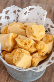 Honeycomb Toffee. Crunchy honeycomb or cinder toffee stock photo
