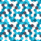Honeycomb vector background. Seamless pattern of blue, white and black color for medical presentation. Modern geometric vector illustration