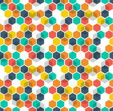 Honeycomb vector background. Seamless pattern with colored hexagons and cubes. Geometric texture, ornament of blue, red Royalty Free Stock Photo