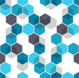 Honeycomb vector background. Seamless pattern with colored hexagons and cubes. Geometric texture, ornament of blue vector illustration