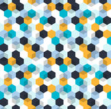 Honeycomb vector background. Seamless pattern with colored hexagons and cubes. Geometric texture, ornament of blue. White and yellow color for business Stock Images