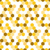 Honeycomb vector background. Seamless pattern with colored hexagons. Geometric texture, ornament of brown, white and. Yellow color for beekeeping business royalty free illustration