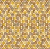 Honeycomb vector background. Seamless pattern with colored hexagons. Geometric texture, ornament of gold, white and vector illustration