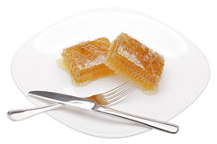 Honeycomb on white plate. Isolated on white Royalty Free Stock Image