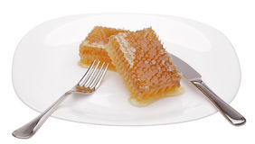 Honeycomb on white plate. Isolated on white Stock Images