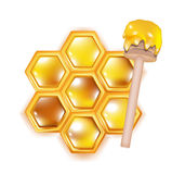 Honeycomb with wooden dipper Stock Photo