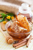 Honeycomb. And wooden honey dipper stock photography