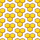 Honeycomb yellow seamless vector pattern. Reticulate honey repeating white background Stock Photos