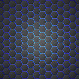Honeycombs abstract 3d hexagonal seamless backdrop with blue electricity light. Metallic hexagons on blue background. Template for cover, posters, banners and royalty free illustration