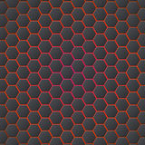 Honeycombs abstract 3d hexagonal seamless backdrop with blue electricity light. Metallic hexagons on red background Royalty Free Stock Images