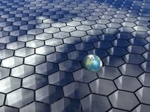 Honeycombs background. 3D honeycombs background with globe Royalty Free Stock Photos