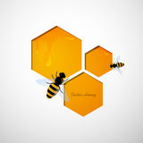 Honeycombs and the Bees. Illustration of a Natural Background with Honeycombs and the Bees Stock Photo