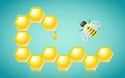 Honeycombs Honey Drop and Bee Vector Illustration Royalty Free Stock Photos