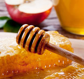 Honeycombs i drewniany dripper Zdjęcia Royalty Free