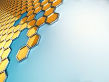 Honeycombs mosaic. 3d honeycombs mosaic on blue background with empty space on the right Stock Photo