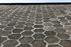 The honeycombs pattern on the dam, hexagonal cells Stock Images