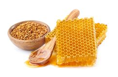 Honeycombs with pollen. On white background Stock Image