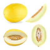 Honeydew melon cut in 4 different shapes Royalty Free Stock Images
