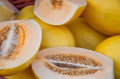 Honeydew melon on a fruitmarket, Yangon. Fresh fruits on a daily market, Yangon stock photos