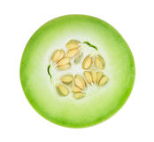 Honeydew melon sliced in half isolated on white Stock Image