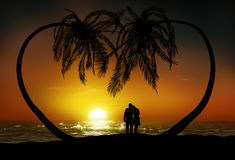 Honeymoon. A digital painting of a honeymoon couple at the beach of a tropical paradise during sunset. Two palms form the shape of a heart above their heads
