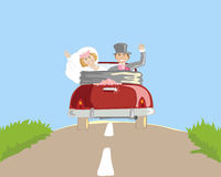 Honeymoon. A hand drawn illustration of a wedding car with a newly married couple going on honeymoon in a shiny red car stock illustration
