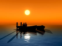 Honeymoon. Young couple fallen in love sitting in a boat expecting the sun to rise Stock Images