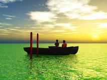 Honeymoon. Young love couple in the honeymoon is enjoying the sunset Stock Image