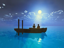 Honeymoon. Young love couple in a boat is enjoying the moonlight Stock Photo