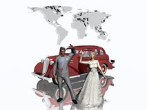 Honeymoon. Newly weds getting ready to leave on their honeymoon, a world trip. A 1930 sedan will bring them to the airport.  3D illustration, background or Stock Photo