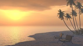 Honeymoon. Two deckchairs on a tropical beach at sunset Stock Images