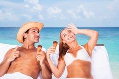 Honeymoon on the beach Stock Photo