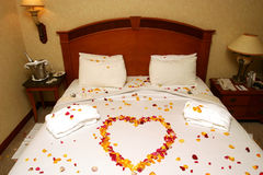 Honeymoon bed Stock Photography