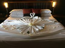 Honeymoon. Bed Decoration Royalty Free Stock Photo