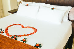Honeymoon bed Stock Photo
