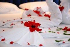 Honeymoon Bed Flower Decoration Stock Photography