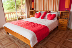 Honeymoon bed. Romantic bed in honeymoon suite, Costa Rica Royalty Free Stock Photography