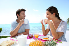 Honeymoon breakfast under the tropics Royalty Free Stock Photos